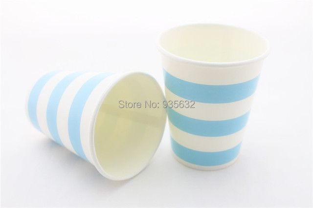 Free Shipping 18packs/lot 9OZ Improved Colorful Drinking Cups Disposable Striped Paper Cups for Party Wedding BBQ Buffet