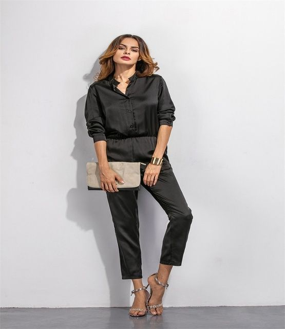 2016 New pattern women Jumpsuits Sexy black blouse and trousers