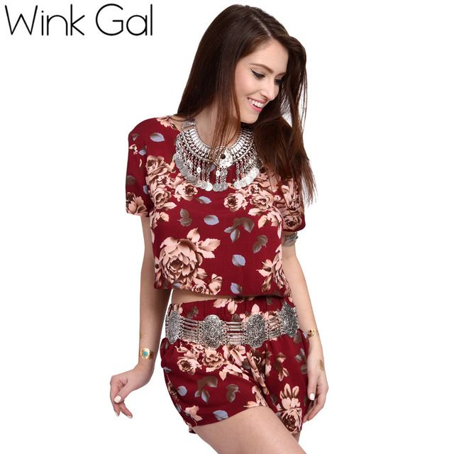 Wink Gal Two Piece Suit Crop Top And Shorts Set Casual Short Sleeve Beach Sets Women Summer Suits 3042