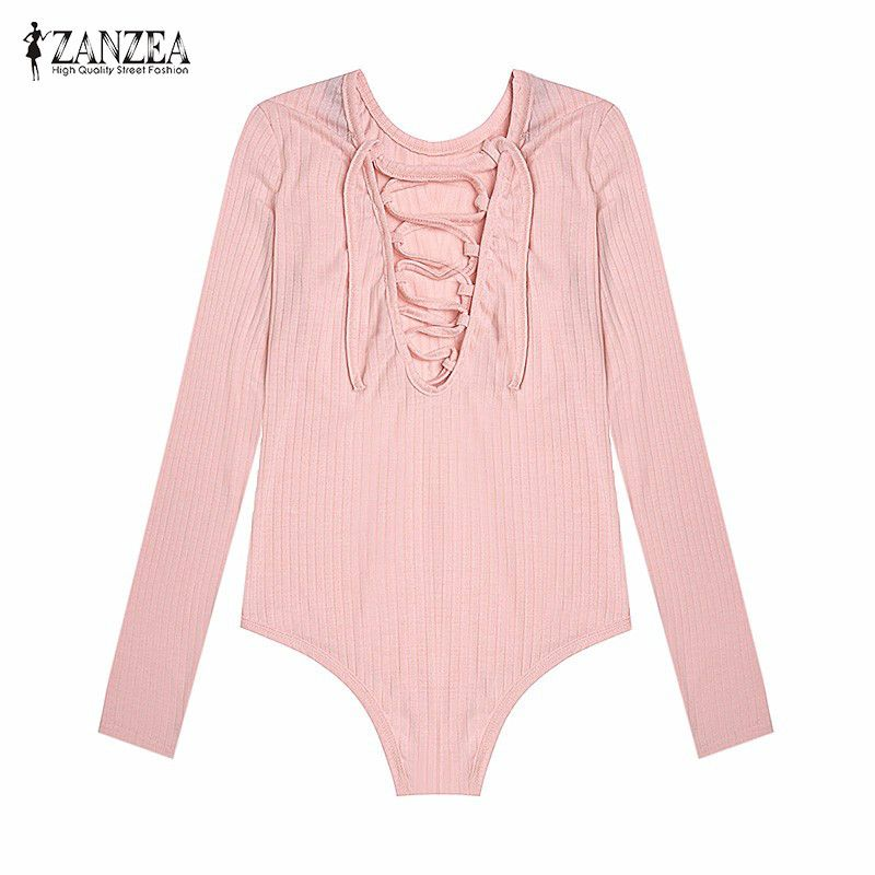 ZANZEA Women Jumpsuit Sexy Overalls 2019 Autumn Ladies Casual Long Sleeve Deep V Neck Lace Up Thin Solid Knit Bodysuit Jumpsuits