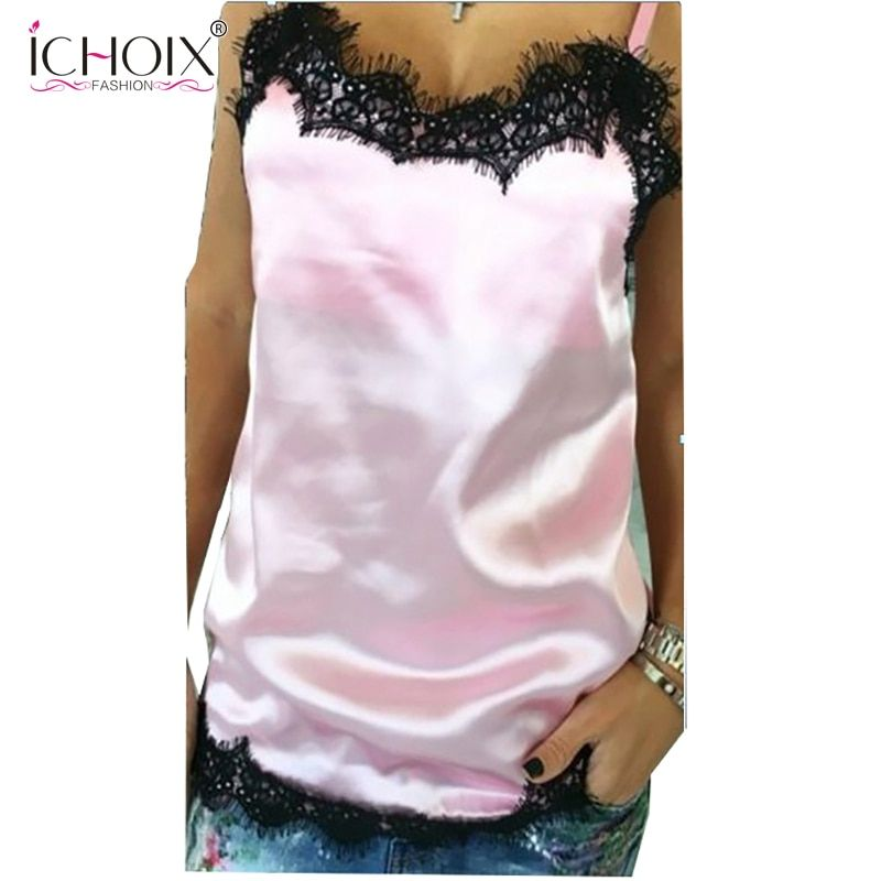 ICHOIX 2017 Summer Style Women's Spaghetti Strap Lace Patchwork Tanks Tops Sexy Sleeveless V Neck casual Tops Camis Beachwear