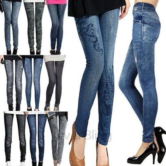 Fashion Design Solid Slim Skinny Printed Thin Denim Leggings for Women Black Blue Fake Jeans Legging Ladies Pencil Pants 1LE9004