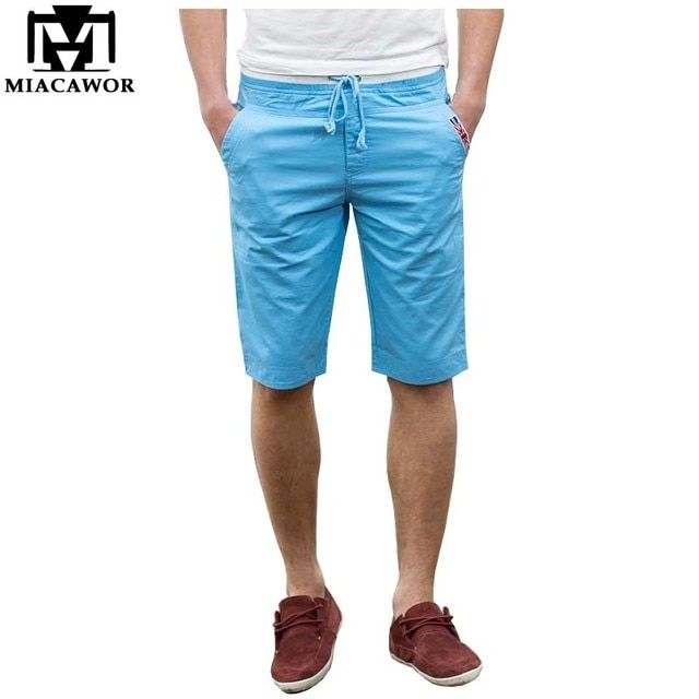 Plus Size 5XL Summer Men's Shorts 100% Cotton Beach Shorts Solid Color Bermuda Masculina 9 Colors Free Shipping MDK084