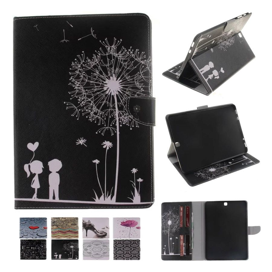 For Case Samsung Galaxy Tab S2 9.7 T815 Fashion Printing PU Leather Stand TPU Tablet Case Cover Tab S2 9.7 SM-T810  Funda Coque