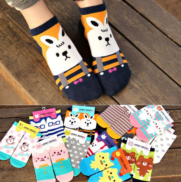 24pcs=12pair women girl mixed cotton A8002 korea Boutique cute cartoon sleeping Christmas casual Socks 12pair/lot