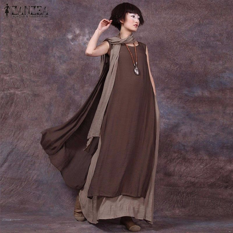 Oversized 2019 Summer ZANZEA Women Vintage Casual Loose Sleeveless Dress Sexy Ladies O Neck Splice Long Maxi Dresses Plus Size