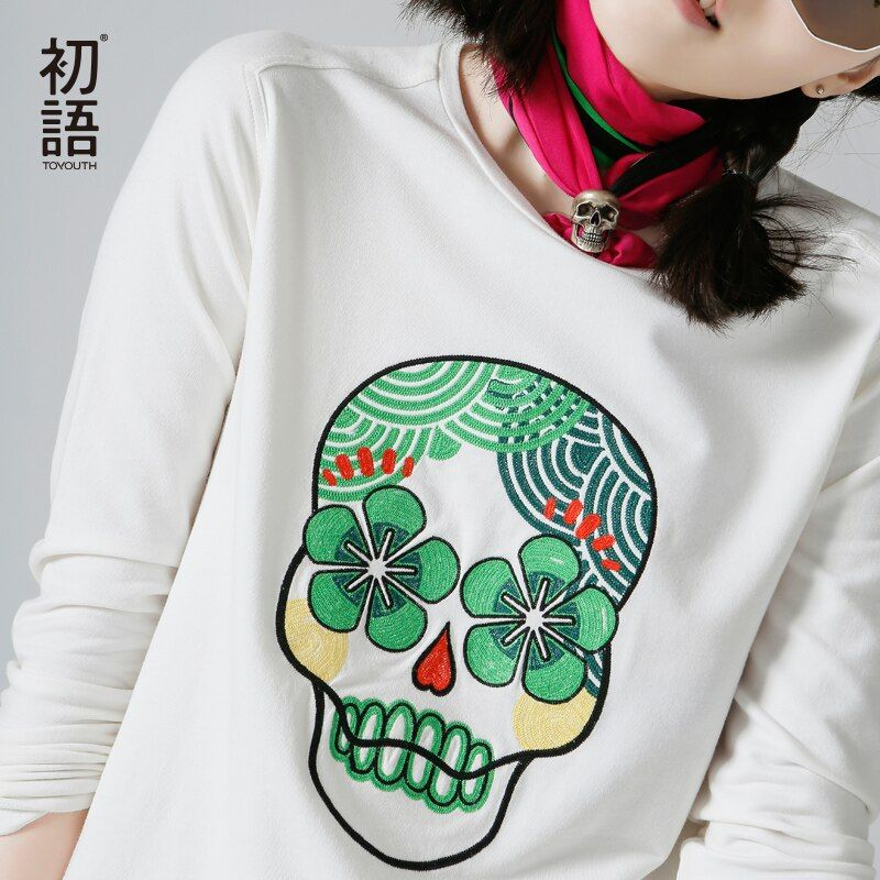 Toyouth  New Arrival Women Casual Cotton Sweatshirts Autumn Embroidered O-Neck Pullovers Sweatshirts