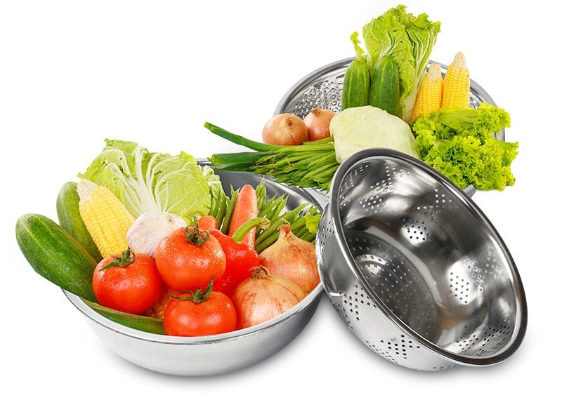 3PCS/LOT S/Steel Rice Sieve Basin Three Pieces Set Steel Rice Sieve Wash Rice Pots Meters Basin Fruit And Vegetable Bowl KV 103