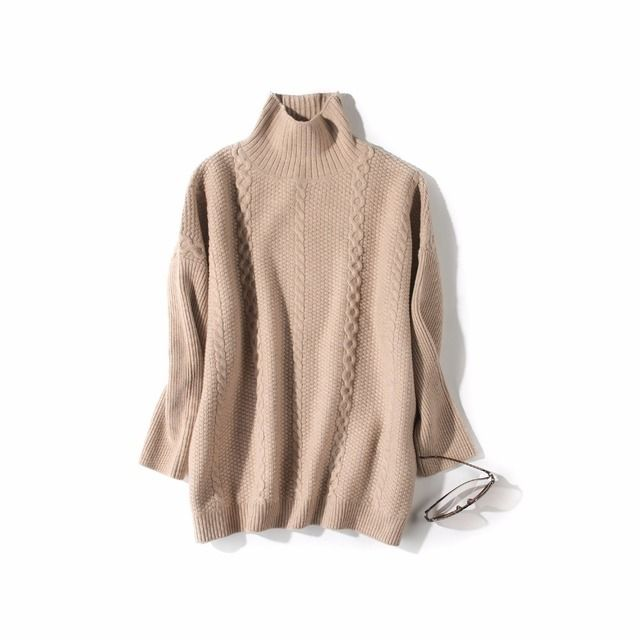 Cable Knit 100% Wool Turtleneck Sweater 2016 Fall Winter Loose Long Sleeve Women Sweaters Fashion Winter Sweter Mujer 2016