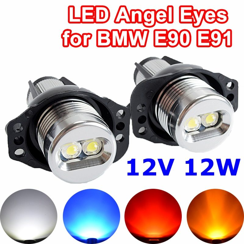 Flytop 2 Pieces(1 Set) 2*6W 12W LED Marker Angel Eyes for Bridgelux Chip White / Blue for BMW E90 E91