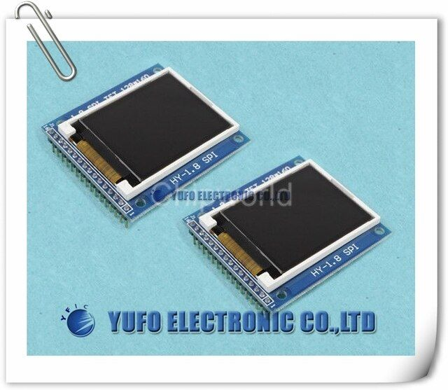 "Free Shipping One Lot 2pcs 1.8"" Serial TFT SPI LCD Module Display 128X160 + PCB Adapter with SD Socket"