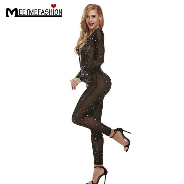 MEETMEFASHION Perspective Sexy Rhinestone Jumpsuit Female Singer One-piece European Costume Hand Made Diamond Gauze Bodysuit