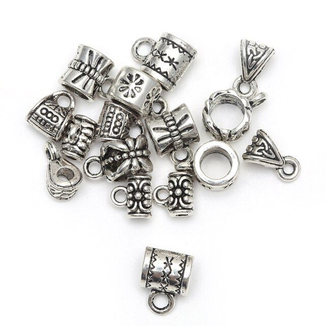 Wholesale 50 pcs/lot Antique Silver Beads Tibetan silver Big Hole Charm For European Beads Connectors Findings