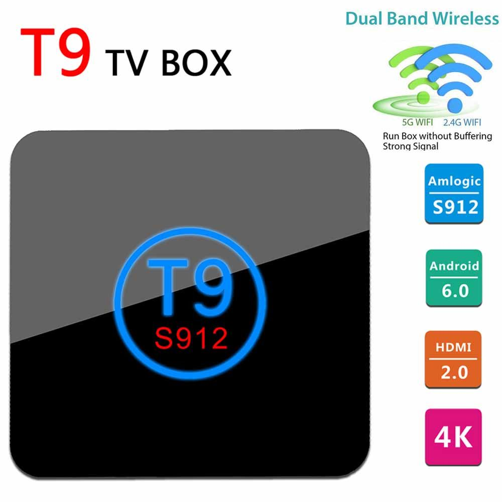 Newest T9 TV Box mini pc Amlogic S912 Android 6.0 Octa Core Smart tv 2G/16G  2.4G/5G Dual WiFi BT4.0 HDMI H.265 4K Media Player