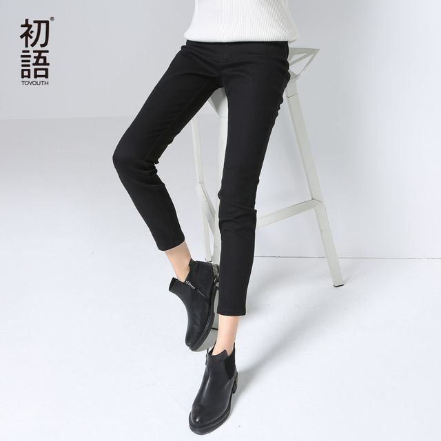 Toyouth New Arrival Women Cotton Casual Full Length Pants Autumn Slim Button Pockets Pencil Pants
