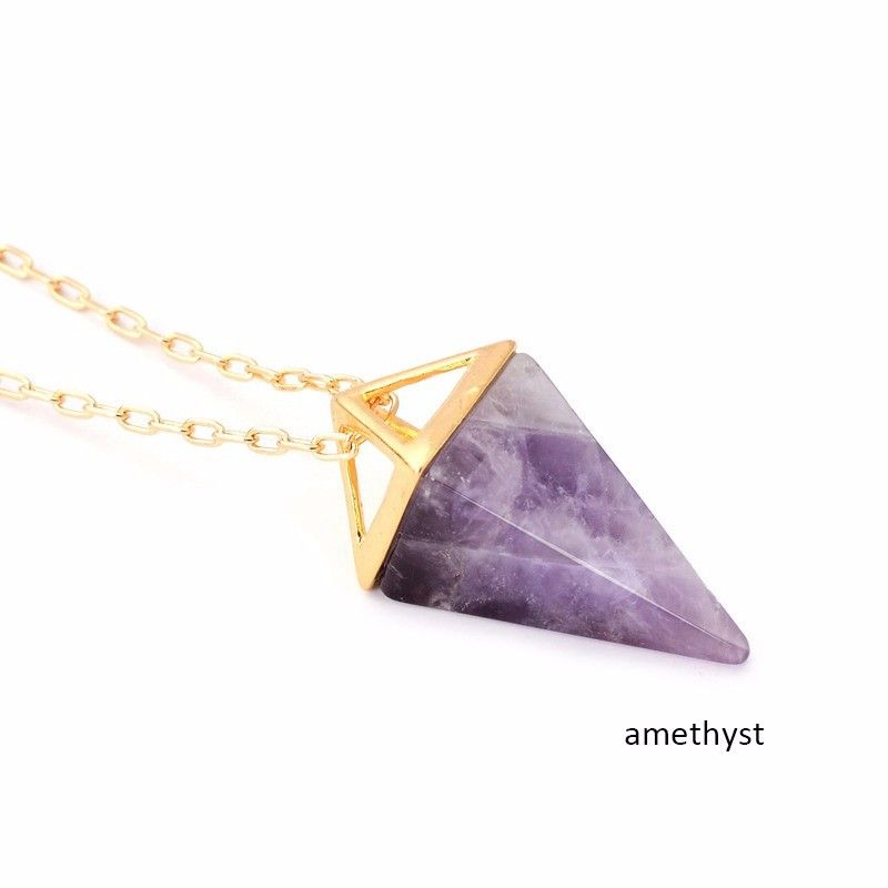 Wholesale 5pcs\lot Purple Quartz Stone Pyramid Necklace Bohemian  Crystal Gold Layer Boho  Jewelry Gift For Her