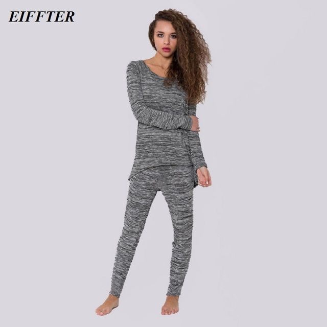 EIFFTER Women Autumn Winter 2 Piece Sets 2016 New Casual Long Sleeve O-neck Solid Back Bowknot T-shirt And Trousers 0091
