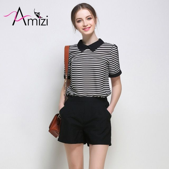 AMIZI Summer Plus Size Women Sets 2017 New Two Piece Set Outfits For Women Striped Lapel T-shirt Shorts Suits For Women