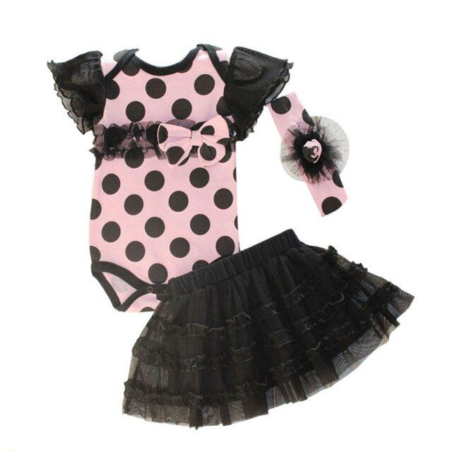 1 Set Newborn Infant Baby Girl Clothing Polka Dot Headband + Romper + TUTU Outfit Clothes 3PCS Sets Hot