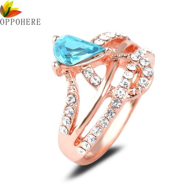 OPPOHERE Hot Selling Crystal Rings Rose Blue Crystal Rings Women's Fashion Jewelry Rhinestone free shipping