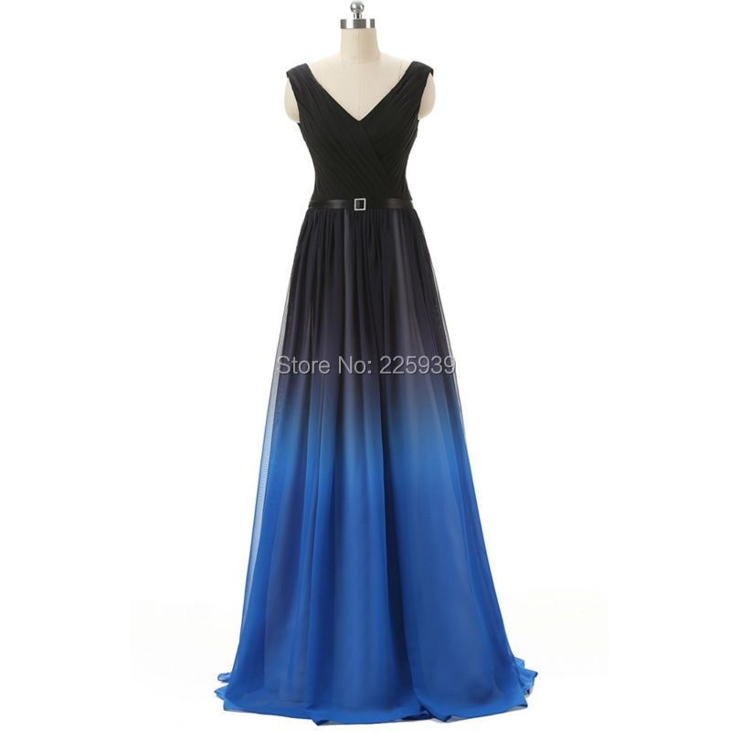 Sexy V Neck Natural Waist A Line Gradient Ramp Black And Blue Chiffon Maxi Floor Length Formal Long Party Evening Dresses Gowns