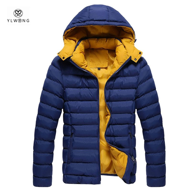 YLWONG Brand Clothing Winter Warm Down Cotton Filling Jacket With Hood For Men Windbreaker Winter Coat 3XL Black Blue