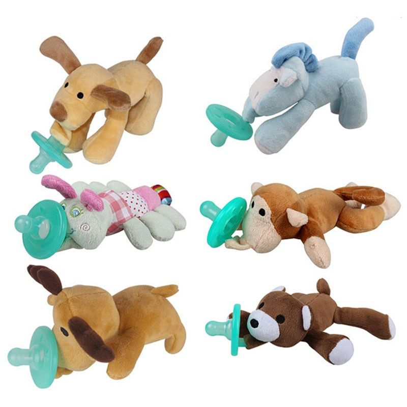 Cartoon Infant Baby Silicone Pacifiers with Plush Animal Toy Personalized Funny Pacifier Chupetes Divertidos Baby Nipple 1PC