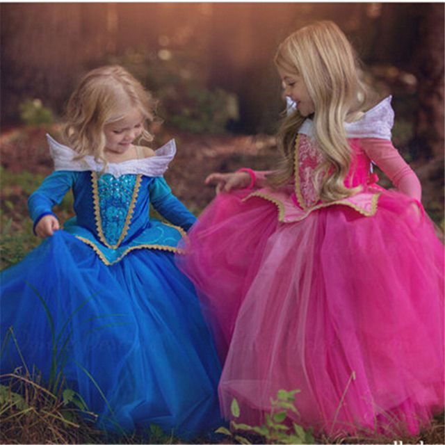 Fancy Princess Kids Dresses For Girls Costume Carnival Halloween Aurora Dress Fairy Dress Role-play Outfits Size 4-10Y Elsa Wear