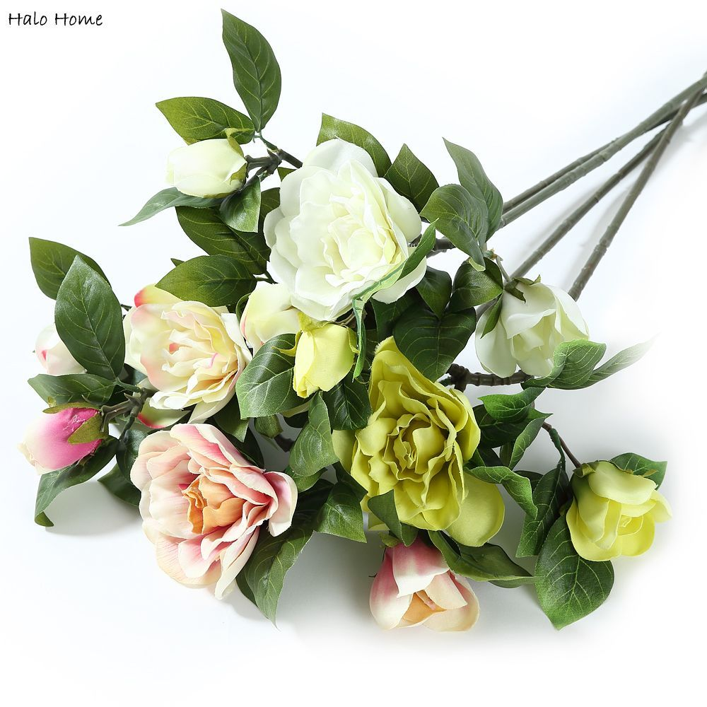 1 Bunch Artificial Flower Gardenia bouquet fit Decoration Home Garden Wedding Party Perception of reality Top Quality