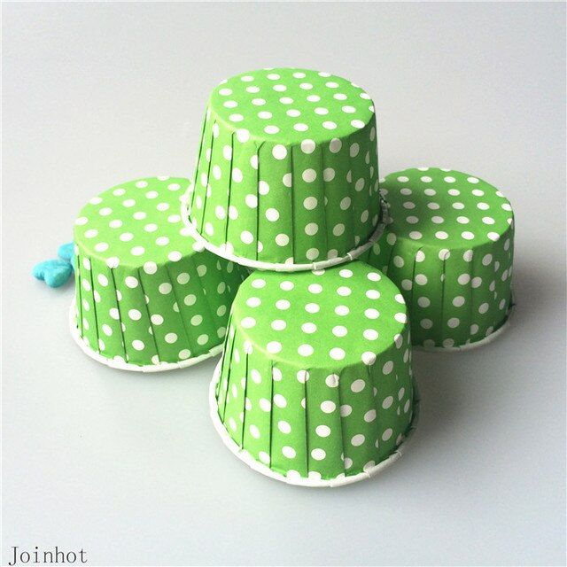 50pcs Green Point Dot Greaseproof Paper Cupcake Liners Muffin Cases bakery cup baking tools 5cm*7cm*4cm