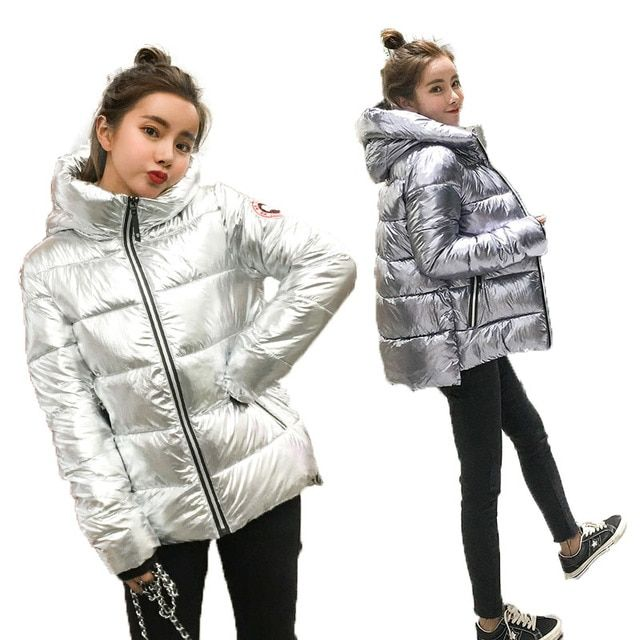 Silver Bright Jacket Coat Women Winter Warm Down Cotton Padded Short Parkas Bread Style new Autumn Fashion Bomber Hooded Outwear