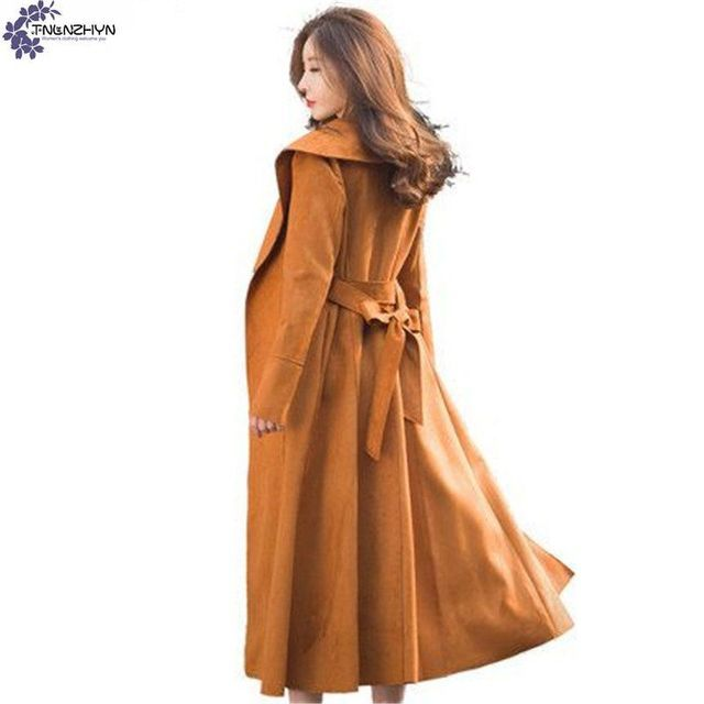 TNLNZHYN Women's clothing New Spring Women Suede Trench Coat Fashion Slim Long Coat Casual Loose Belt Windbreaker Outwear AK309