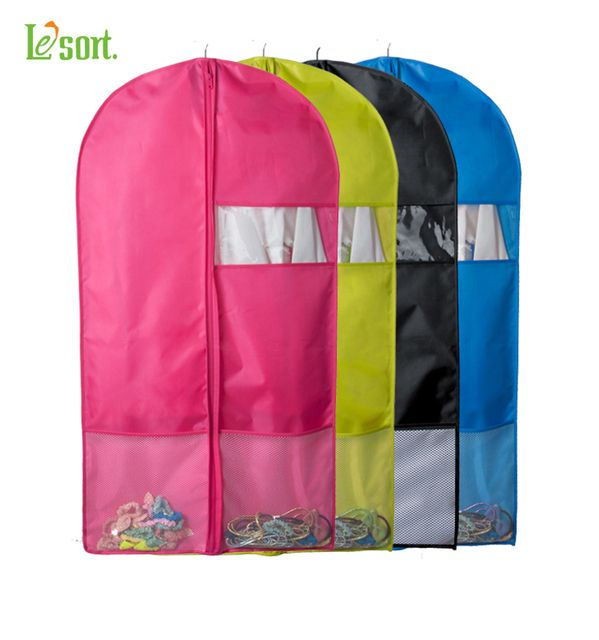 100% POLYESTER Candy Color Breathable Fabric Garment Bag Storage Dress Clothes Foldable Suit Cover , Clothes Storage Zipper Bag