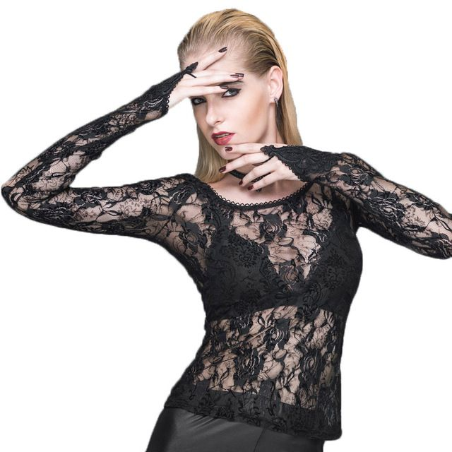 Devil Fashion Punk Women's Sexy T-shirt 2016 Long Sleeve Roses Printed Autumn Solid Black Transparent Lace Tops And Tees XXXL