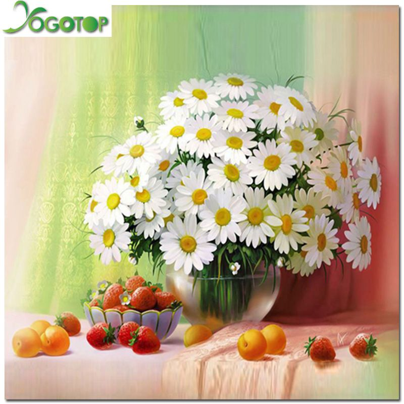 new diy diamond painting pictures of rhinestones kits diamond set of embroidery paint of flowers Daisy and fruit AS003