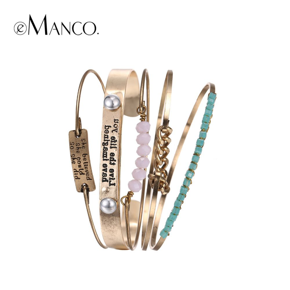 eManco Wholesale Trendy Ethnic Multi Layer Bangles Statement ID Bracelets & Bangles for Women Pink Crystal Separable Jewelry
