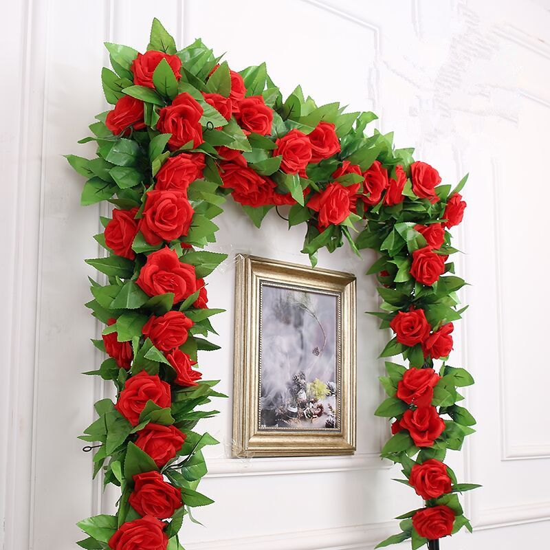 Silk Rose Flowers Fake Artificial flower hanging Vine rattan home wall Wedding party Decor artificial plants 2pcs/lot