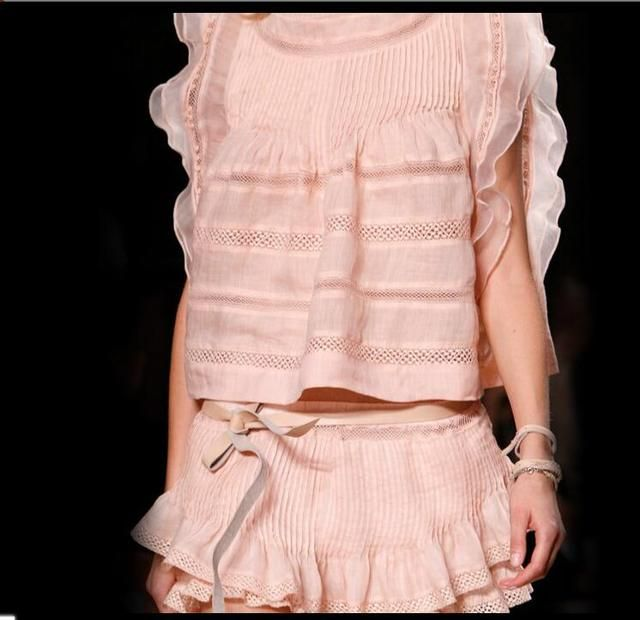Isabel Pink Silk Cotton Lace Pink O Neck Scalloped Sleeve Blouse Fashion Show BI00162