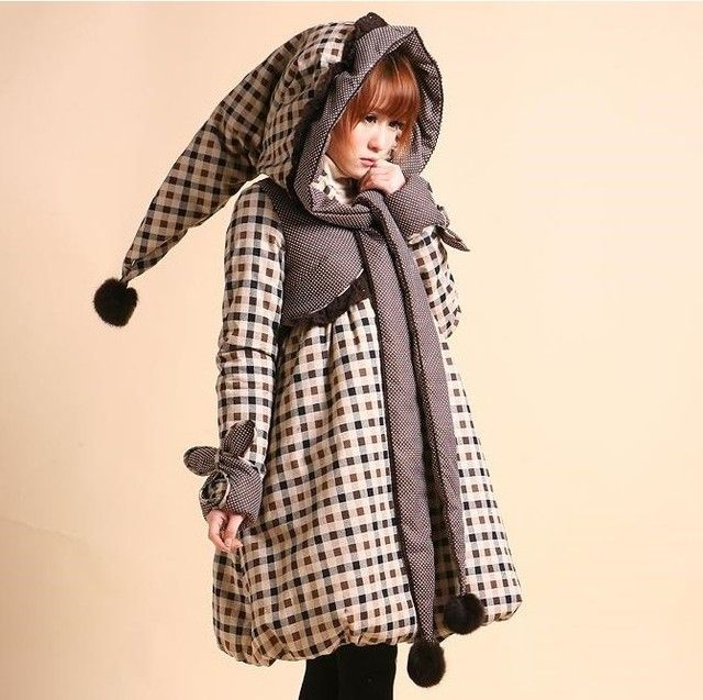 Women's Lolita Style Rabbit Fur Plaid Embroidery Bow Thickening Wadded Jacket Long Coat