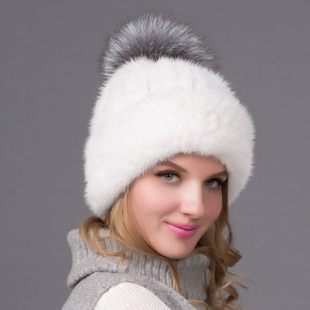2016 new Real mink fur hat hot sale for women winter knitted mink beanies cap with silver fox fur pompoms thick female cap BZ-10