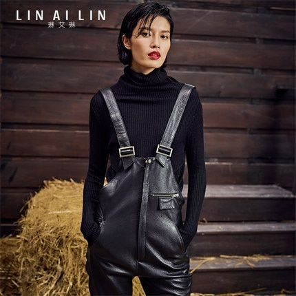 Woman's leather pants Bib overall Slim rompers  trousers dungarees