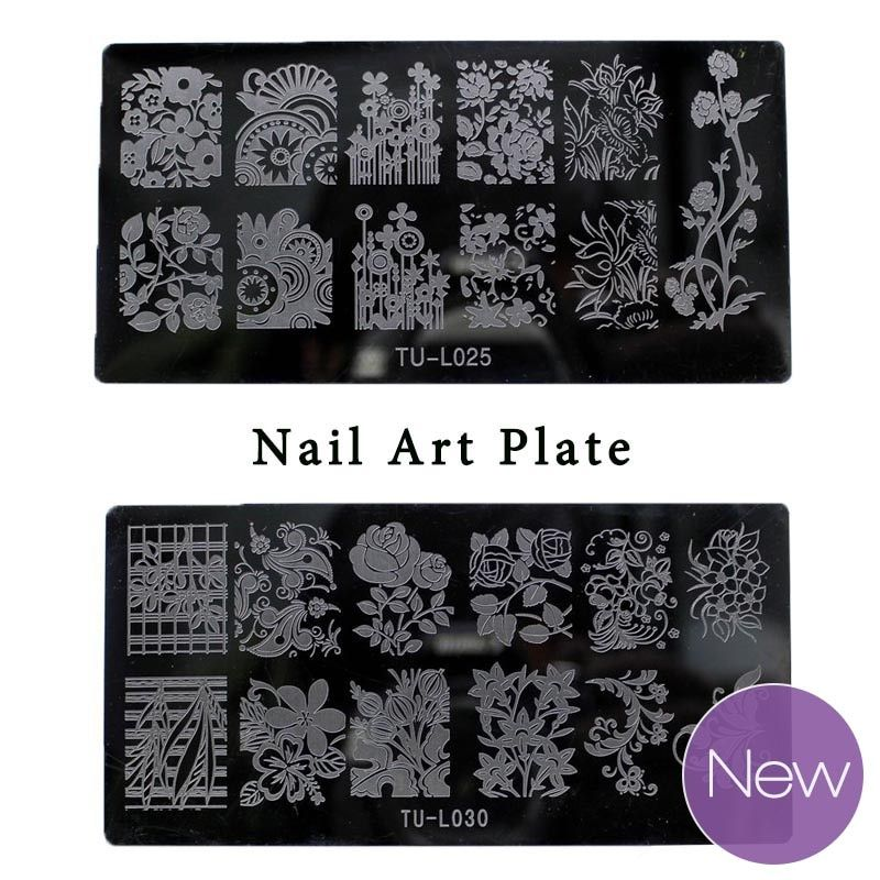 New Design Nail Art Plate 6*12cm Nail Stamping TU-L 30 Style Lace Flower Animal Image Template Print Nail Tips DIY Manicure