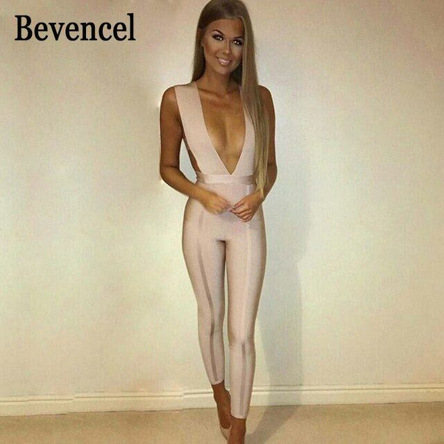 2016 new arrival sexy nude bandage jumpsuits jumpsuit