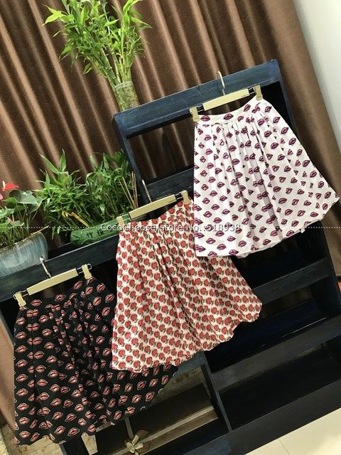 New 2017 spring summer fashion cute patterns print cotton women skirts casual pleated skirts with pockets white black pink