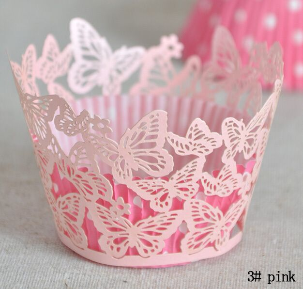 fly butterfly Lace Laser Cut Cupcake cake Wrapper Liner Baking Cup paper for wedding birthday tea party decoration  Wholesale