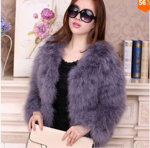 Women 2017 Real Fur Coat Genuine Ostrich Feather Fur Winter Jacket Retail / Wholesale Top Quality