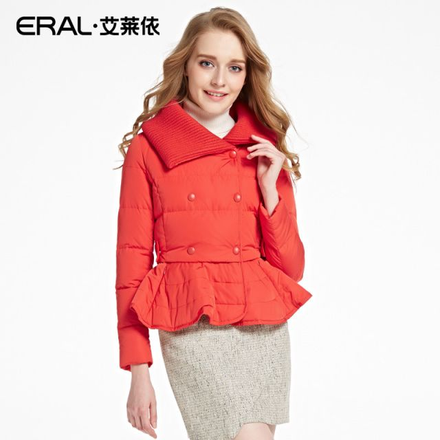 ERAL Women's Winter 2016 Slim Kintted Collar Patchwork Ruffles Hem Black White Short Down Jacket ERAL12022-EDAA