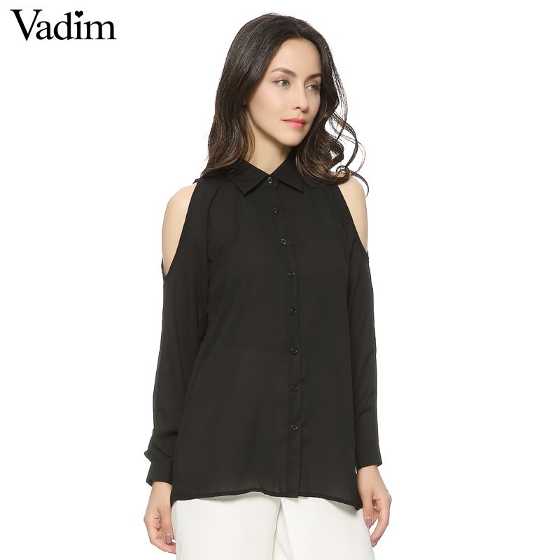 Women off shoulder long shirts sexy chiffon tops turn down collar blouse Blusas Femininas long sleeve casual LT426
