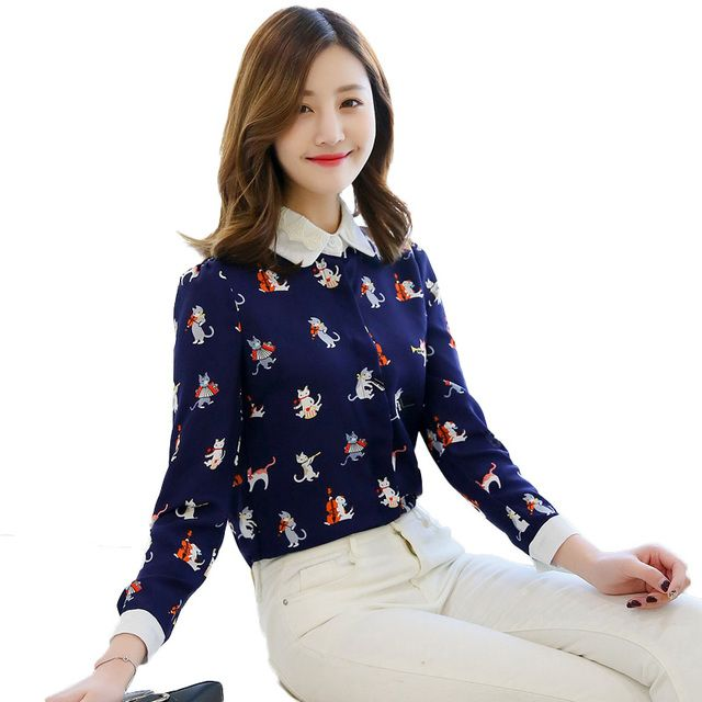 2017 Spring Cartoon Cat Print Shirt Women Long Sleeve Lace Peter Pan Collar Chiffon Blouse Kawaii Ladies Office Shirts Blusas