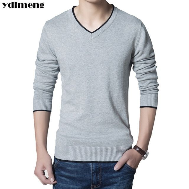 YDLMENG brand sweaters men rounched collar solid pure cotton fashion slim comfortable contrast color size 3XL new pullovers male